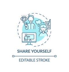 Share yourself turquoise concept icon vector