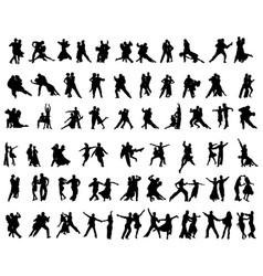 Silhouettes of tango players vector