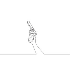 single continuous line drawing of man holding vector image