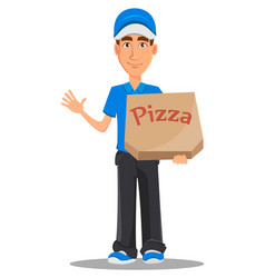 smiling delivery man in blue uniform holding vector image