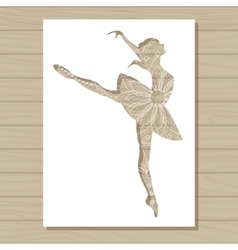 Stencil template of ballet dancer on wooden vector