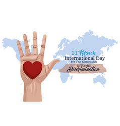 stop racism international day poster with hand vector image