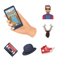 Style hipster cartoon icons in set collection for vector