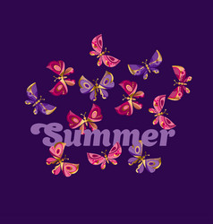 summer night butterfly vector image