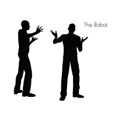 The Robot pose on white background vector