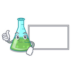 thumbs up with board science beaker character vector image