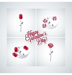 valentines day rose set design background vector image vector image