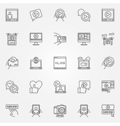 Vlog icons set vector