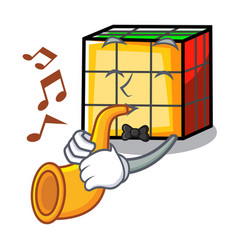With trumpet rubik cube mascot cartoon vector