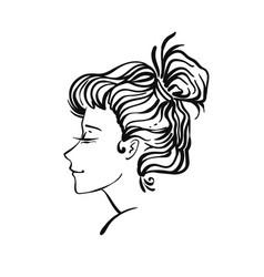 Woman portrait vignette vector
