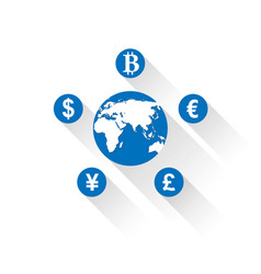 world currencies icons vector image