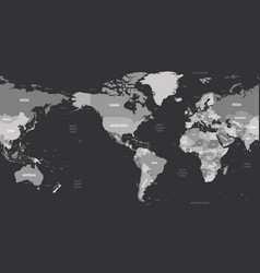 World map - america centered grey colored on dark vector