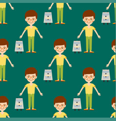 young kid portrait seamless pattern friendship man vector image
