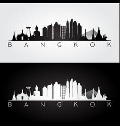 bangkok skyline and landmarks silhouette vector image