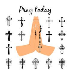 catholic praying hands holding beads vector image