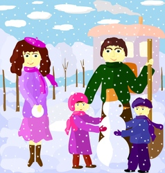 family outdoors in winter vector image vector image