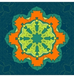 Green and Orange Mandala Decor for your vector image vector image