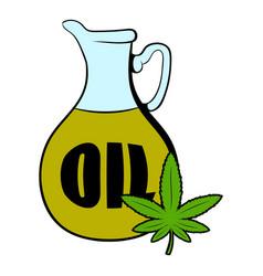 hemp oil and cannabis leaf icon cartoon vector image