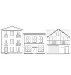 Three houses of different heights vector image vector image