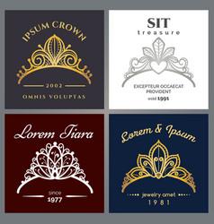 tiara luxury logo set vector image vector image