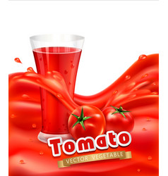 background with a glass of tomato juice tomato vector image vector image
