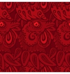 red pattern with rooster vector image vector image