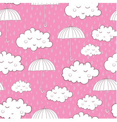 Seamless pattern with cute sleeping clouds and vector
