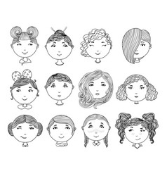 set of hand drawn girl faces cartoon girls vector image