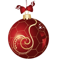 Christmas ball red and gold design vector image