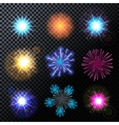 Fireworks Salute Set on a vector image