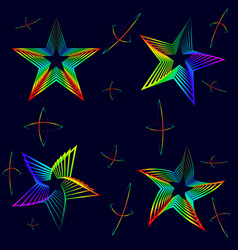 set of neon stars on a black background vector image vector image