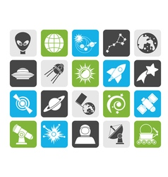 Silhouette astronomy and space icons vector image
