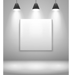 White gallery interior with frame vector