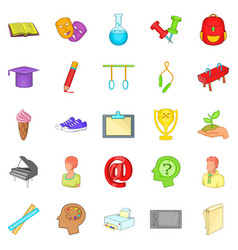 academy icons set cartoon style vector image vector image