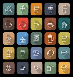 Coffee line flat icons with long shadow vector image