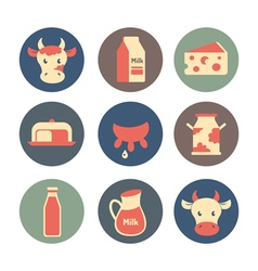 Dairy and milk products flat icons set vector image