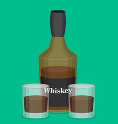 Flat bottle of whiskey colorful vector