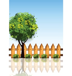 garden with wooden vector image vector image
