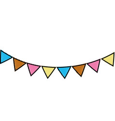grated party flags decoration to celebration event vector image