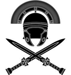 roman helmet and swords third variant vector image