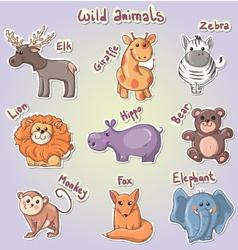 Set of cartoon wild animals vector image