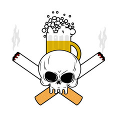 skull and beer and crossbones cigarettes smoking vector image vector image