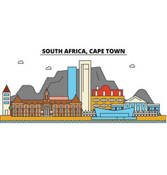 south africa cape town city skyline architecture vector image