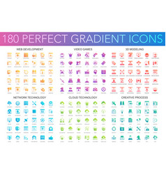 180 trendy perfect gradient icons set of web vector