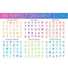 180 trendy perfect gradient icons set web vector image