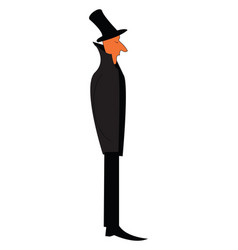 A man in black formal suite and long top hat is vector