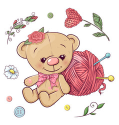 a set teddy bear and yarn for knitting hand vector image