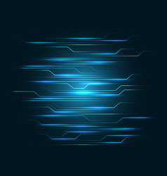 abstract blue line circuit light on black design vector image