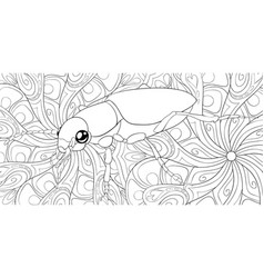 Adult coloring bookpage a cute bug vector