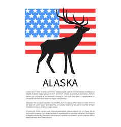 alaska flag icon of reindeer vector image